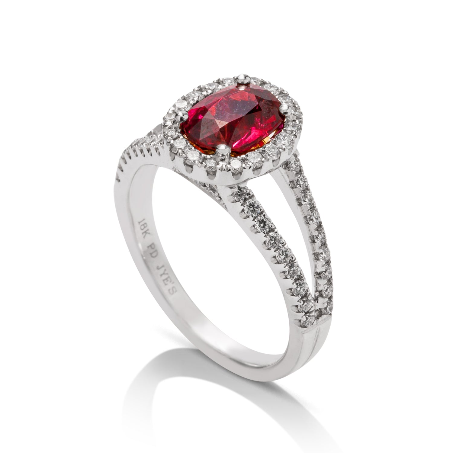 Oval Mozambique Ruby and Diamond Split Shank Ring - Charles Koll Jewellers