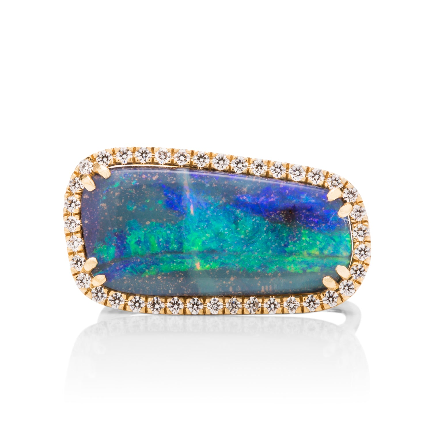 Freeform Opal and Diamond Ring