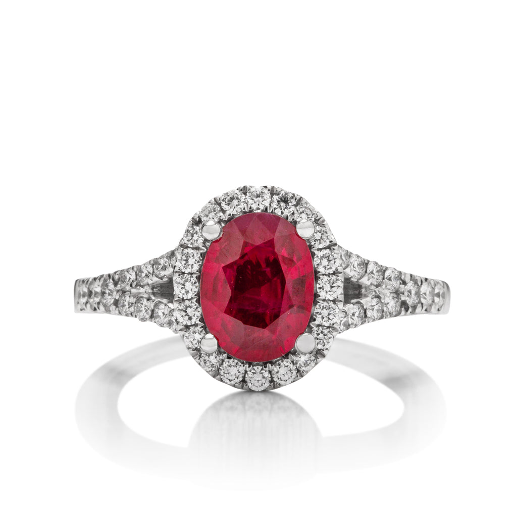 Oval Burmese Ruby and Diamond Ring - Charles Koll Jewellers