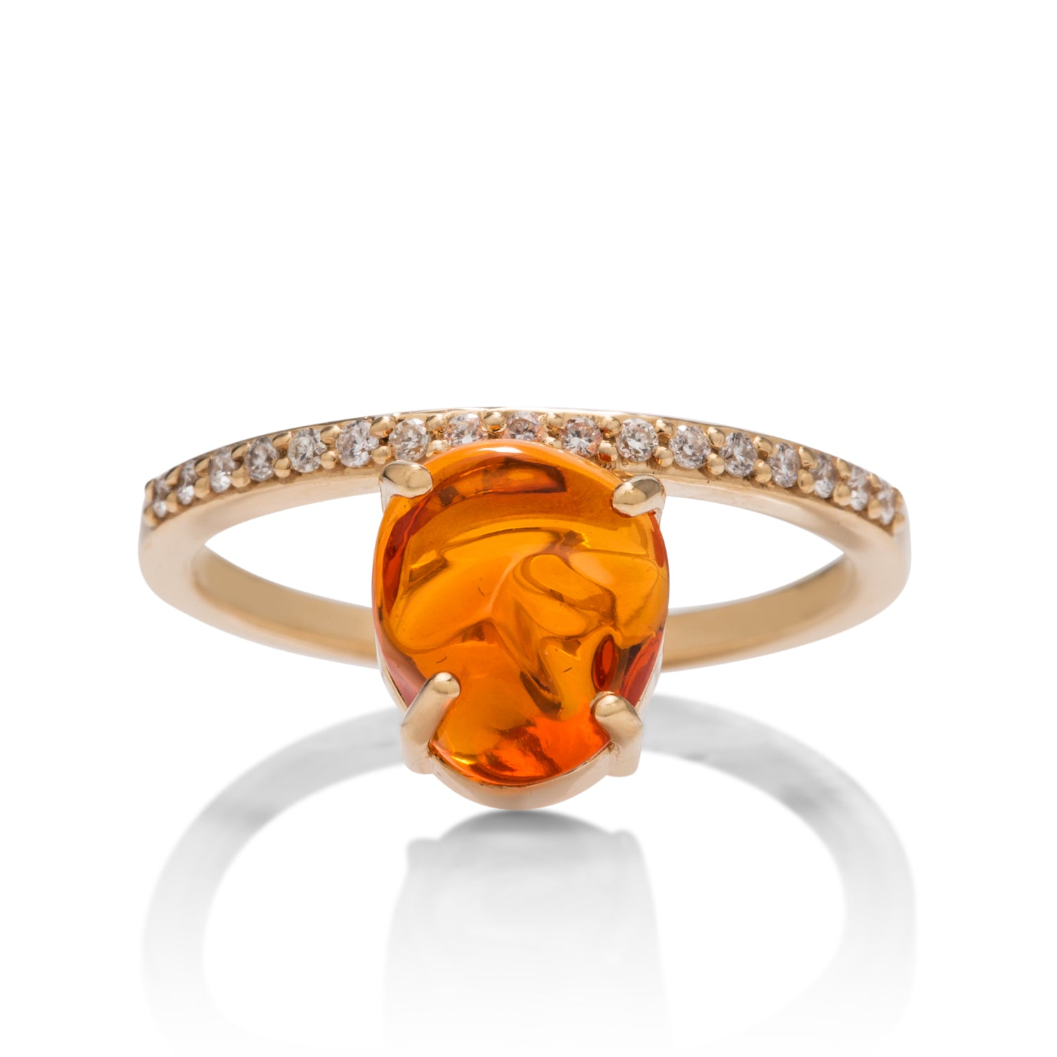 Mexican Fire Opal Asymmetric Ring - Charles Koll Jewellers