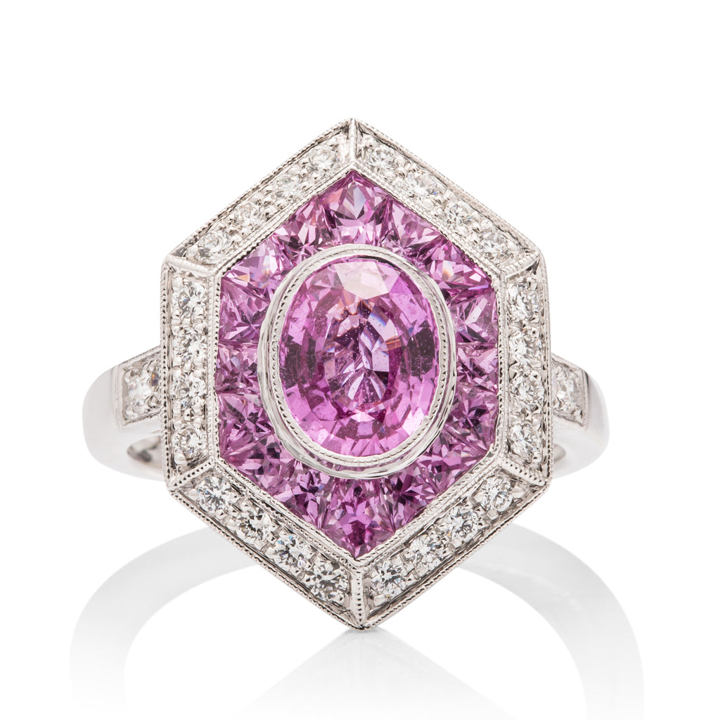 Pink Sapphire and Diamond Ring - Charles Koll Jewellers
