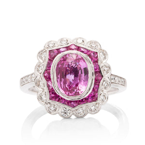 Pink Sapphire and Diamond Scallop Ring - Charles Koll Jewellers