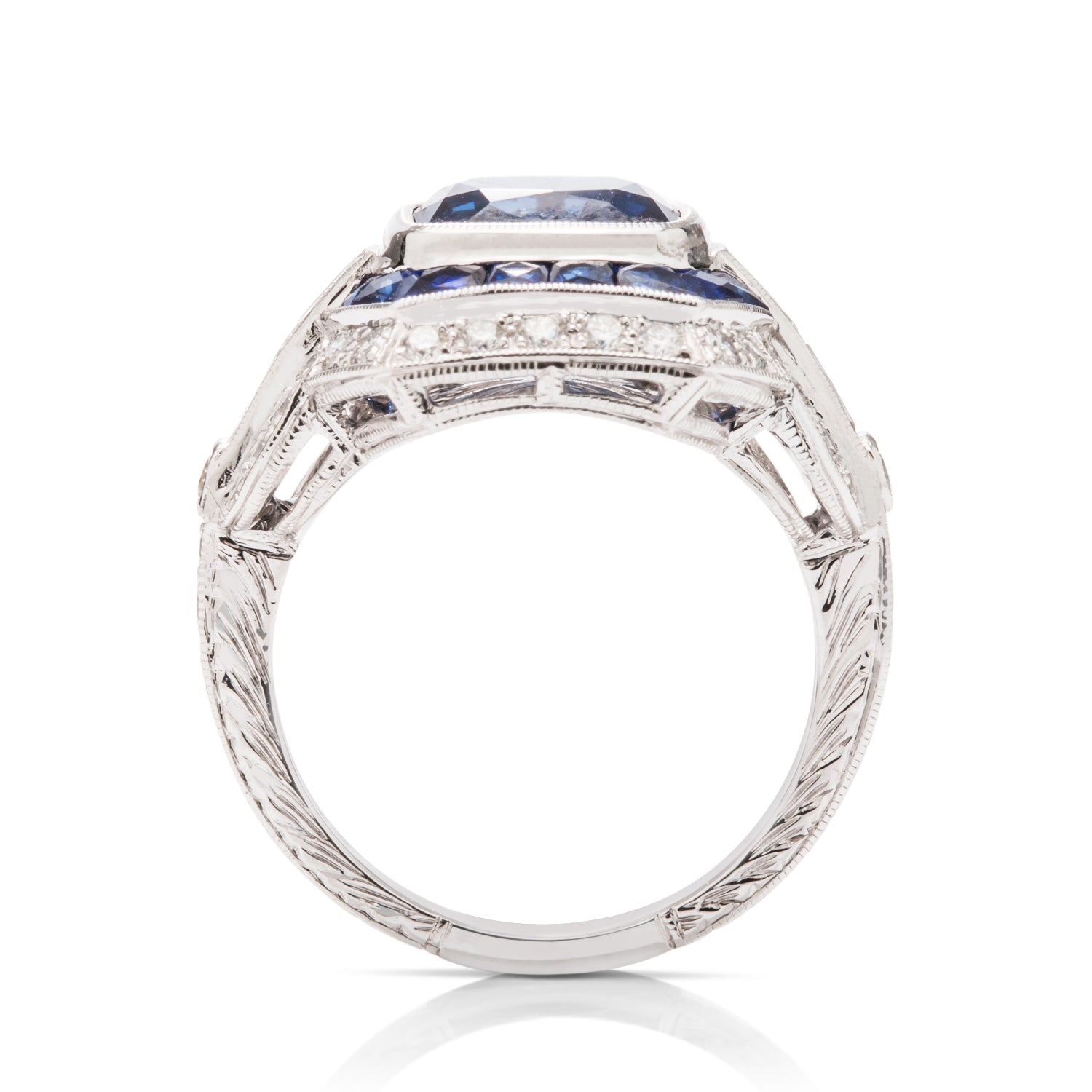 Deco Style Sapphire and Diamond Ring - Charles Koll Jewellers