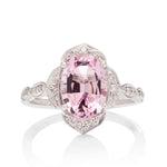Antique Style Morganite and Diamond Ring - Charles Koll Jewellers