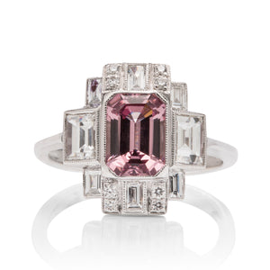 Lotus Garnet and Diamond Deco Ring - Charles Koll Jewellers
