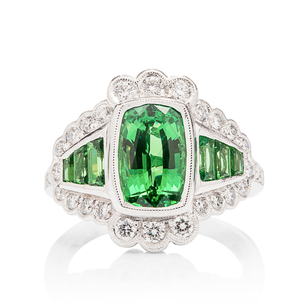 Tsavorite and Diamond Scallop Ring - Charles Koll Jewellers