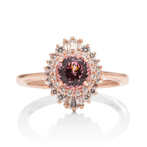 Lotus Garnet and Diamond Baguette Ring - Charles Koll Jewellers