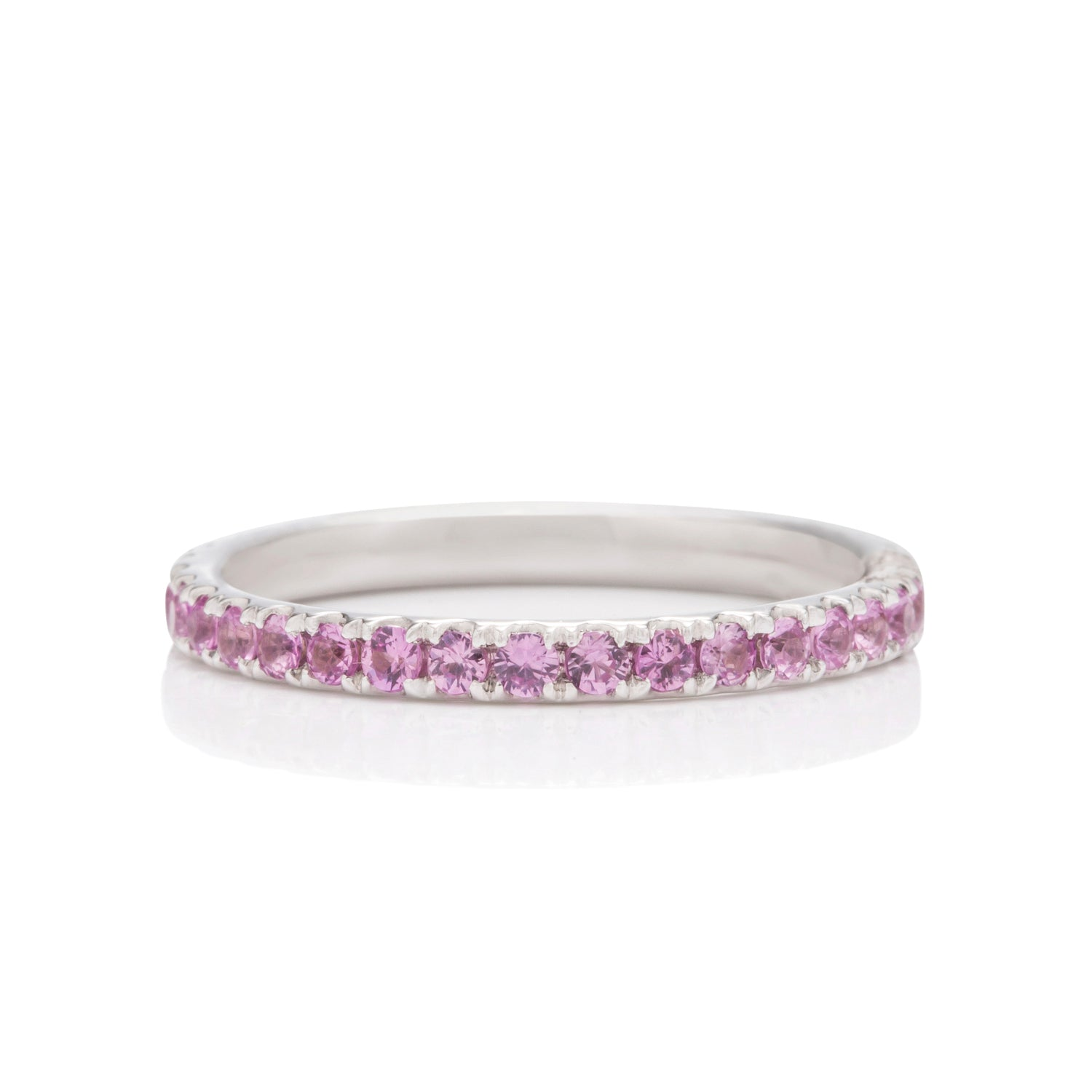 Pink Sapphire and White Gold Eternity Band - Charles Koll Jewellers