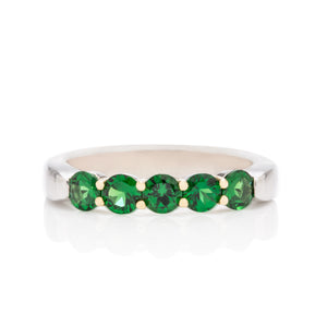 Tsavorite Platinum and Gold Ring - Charles Koll Jewellers