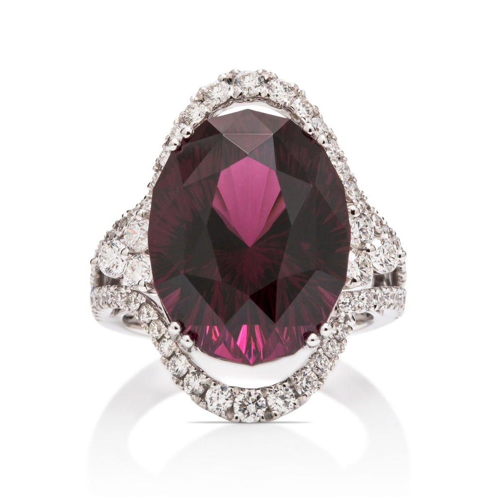 Garnet Rainbow Oval Ring