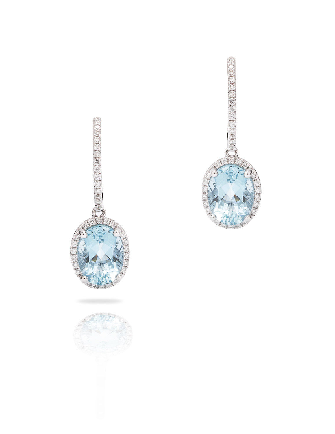 Aquamarine and Diamond Dangle Earrings - Charles Koll Jewellers