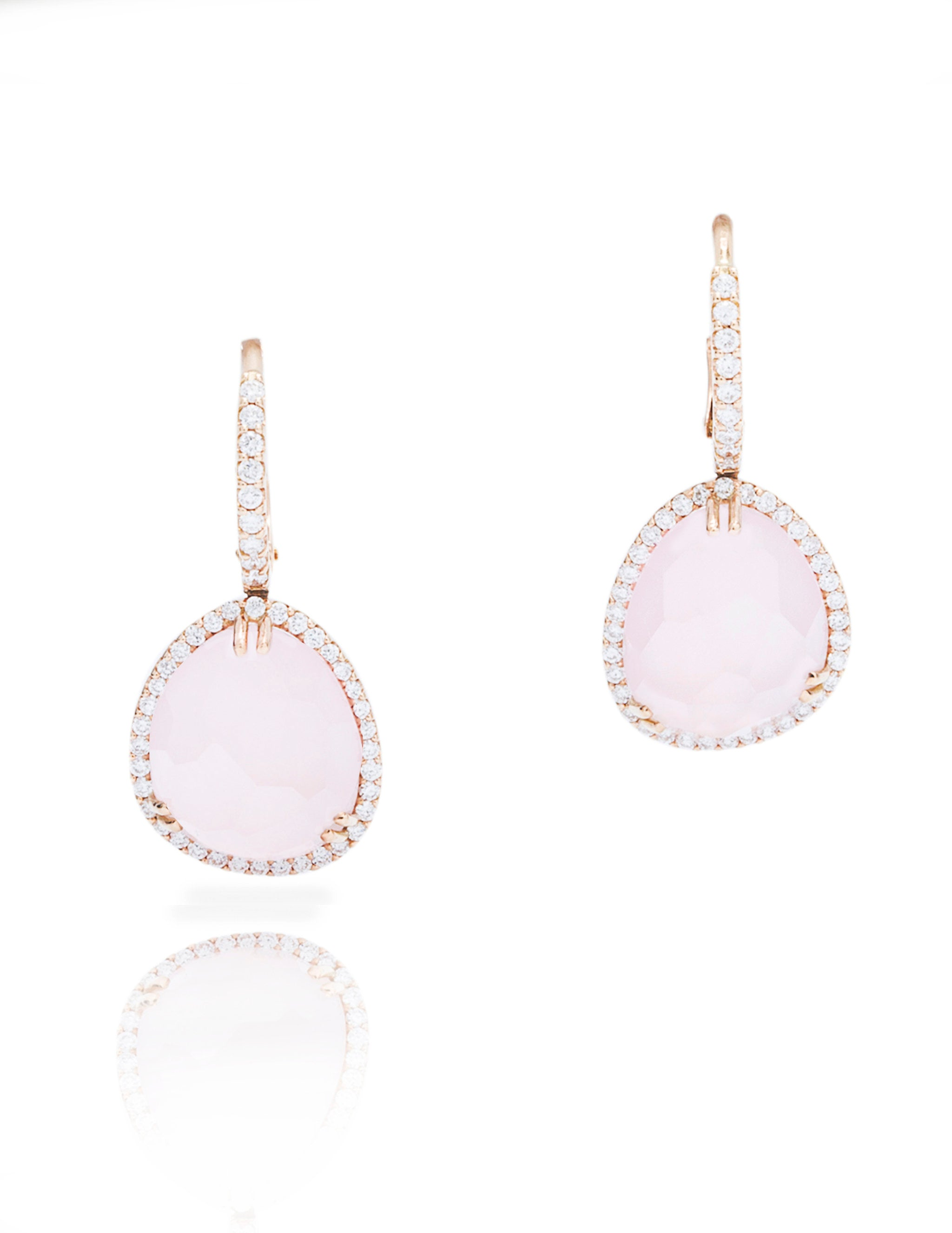 Rose Quartz Dangle Earrings - Charles Koll Jewellers