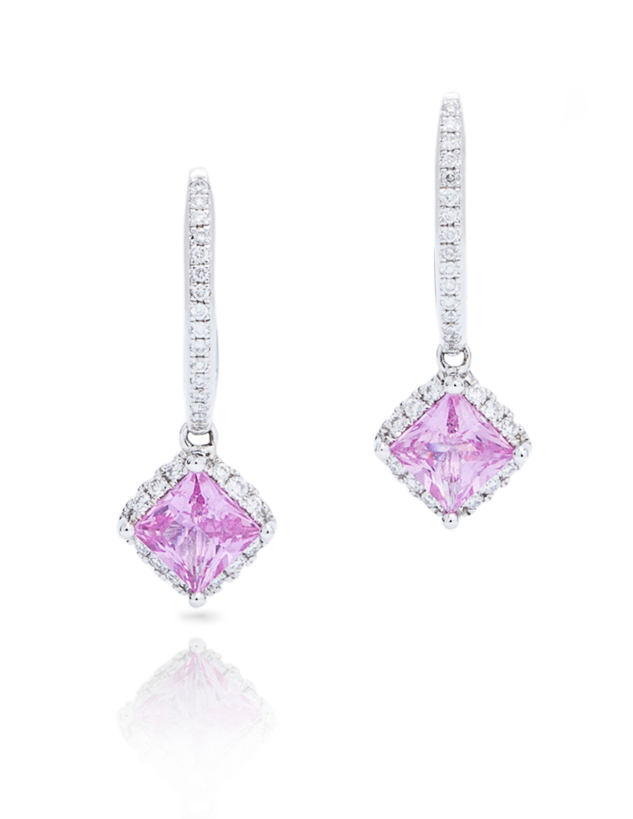 Pink Sapphire and Diamond Drop Earrings - Charles Koll Jewellers