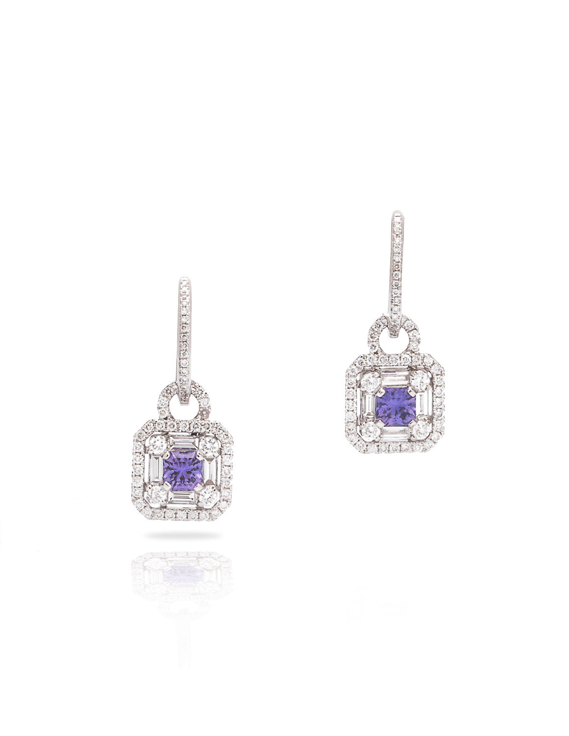 Asscher Cut Purple Sapphire and Diamond Earrings - Charles Koll Jewellers