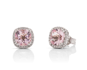 2.74 Carat Morganite & Diamond 18k White Gold Stud Earrings - Charles Koll Jewellers