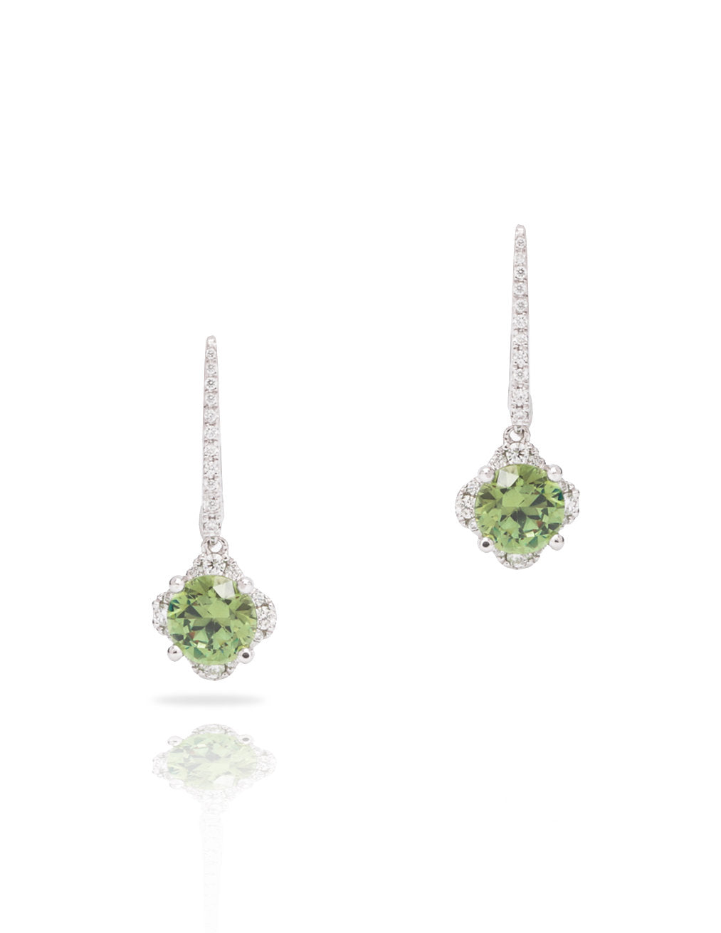 Demantoid Garnet and Diamond Drop Earrings - Charles Koll Jewellers