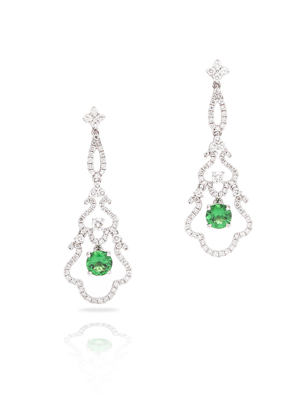 Tsavorite and Diamond Drop Earrings - Charles Koll Jewellers