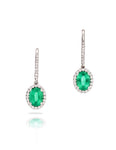Emerald and Diamond Drop Earrings - Charles Koll Jewellers