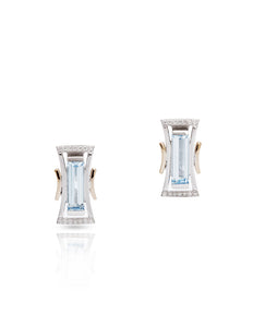 Blue Topaz Two-Tone Earrings - Charles Koll Jewellers