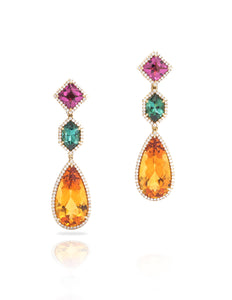 3 Stone Fancy Drop Earrings - Charles Koll Jewellers