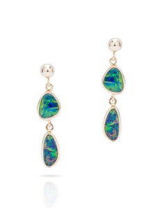 Double Australian Opal Drop Earrings - Charles Koll Jewellers