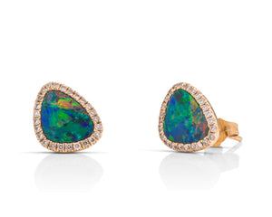 Australian Opal Doublet & Diamond 14k GOld Stud Earrings - Charles Koll Jewellers