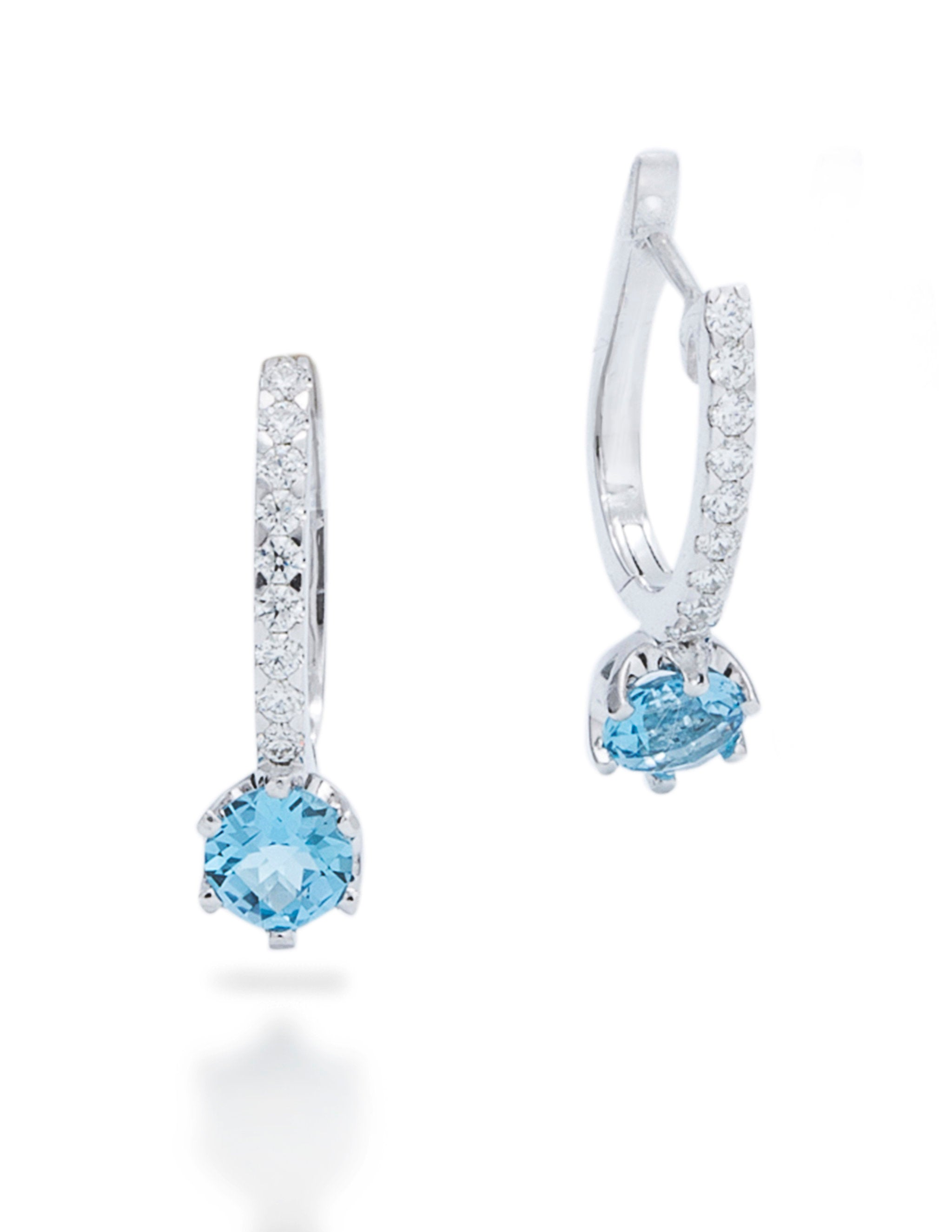 Swiss Blue Topaz and Diamond Drop Earrings - Charles Koll Jewellers