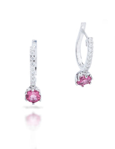 Pink Tourmaline Diamond Drop Earrings - Charles Koll Jewellers