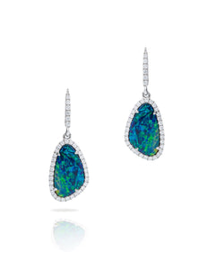 Opal Doublet Halo Drop Earrings - Charles Koll Jewellers