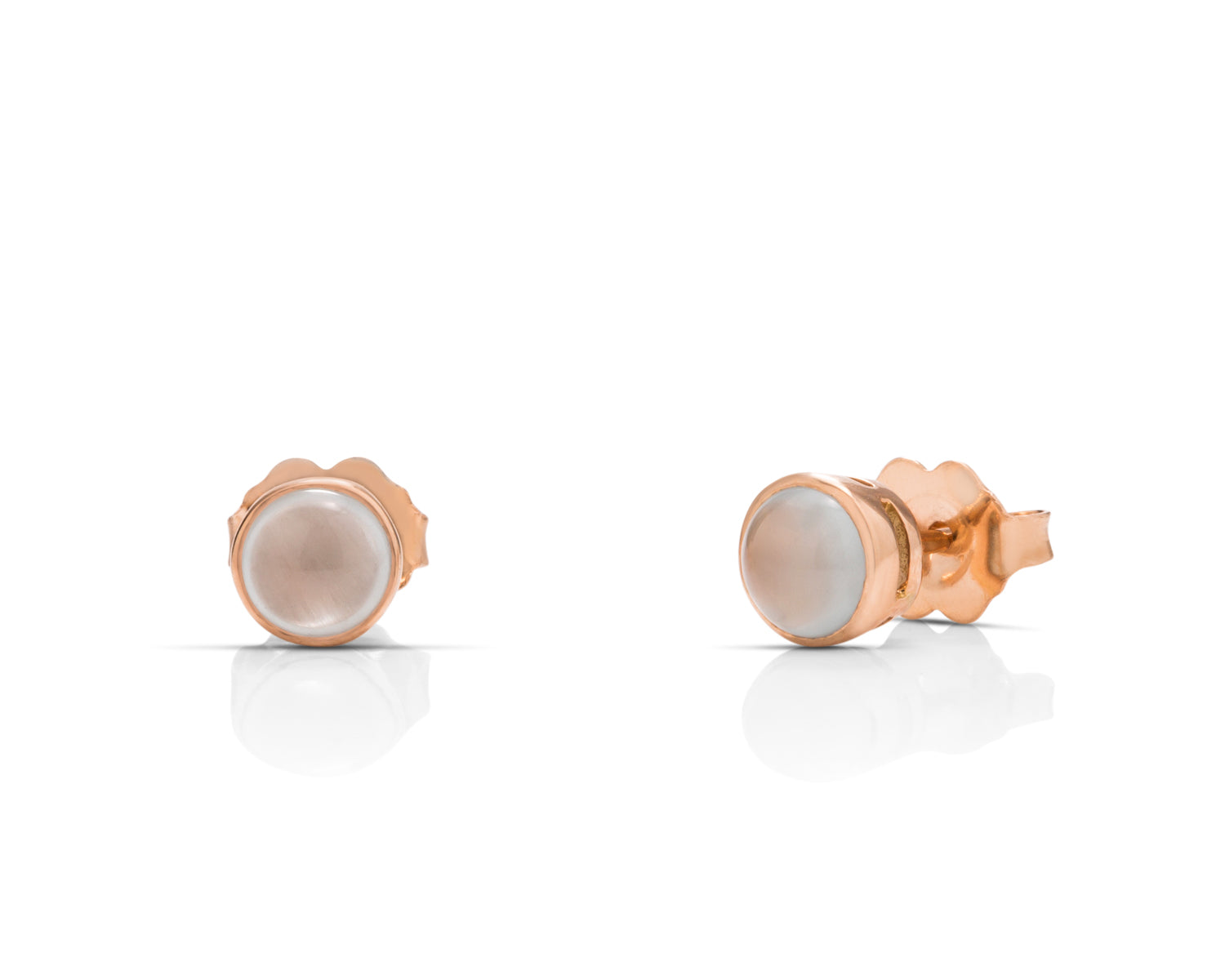 Aquamarine 18k Rose Gold Stud Earrings - Charles Koll Jewellers