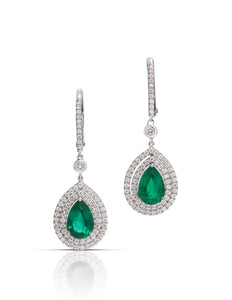2.13 Carat Pair Shaped Emerald & Diamond 18k White Gold Earrings - Charles Koll Jewellers
