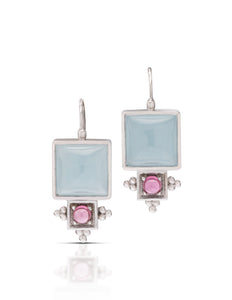 18k White Gold Aquamarine & Rhodolite Earrings - Charles Koll Jewellers
