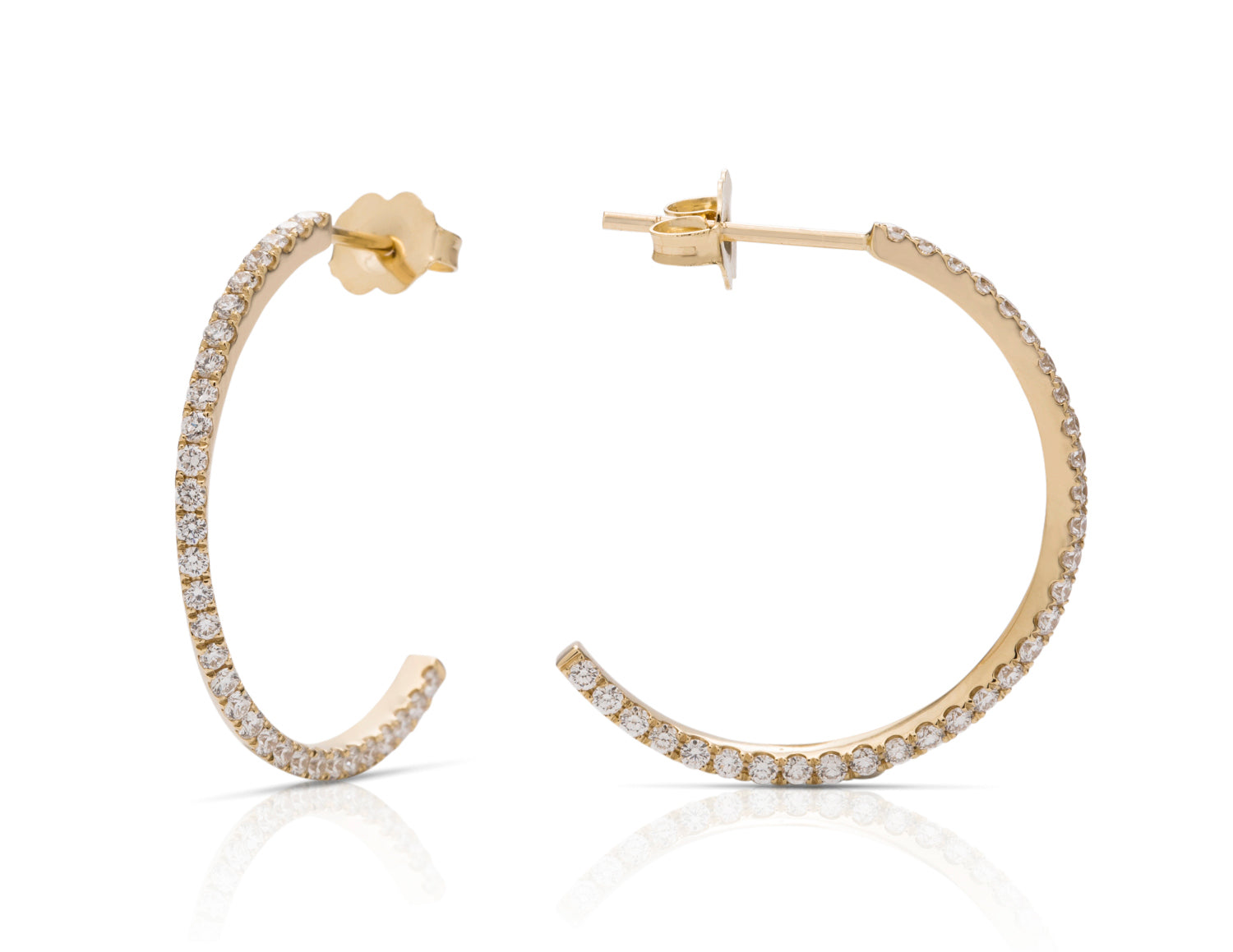 Yellow Gold and Diamond Mobius Hoop Earrings - Charles Koll Jewellers