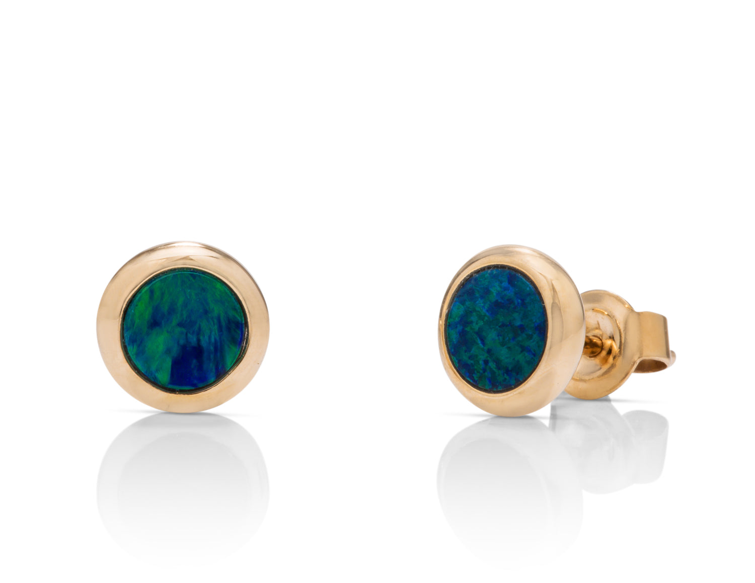 Australian Opal Bezel Stud Earrings - Charles Koll Jewellers