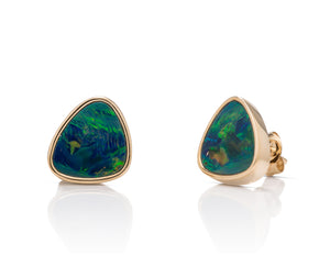 Triangular Australian Opal Stud Earrings - Charles Koll Jewellers