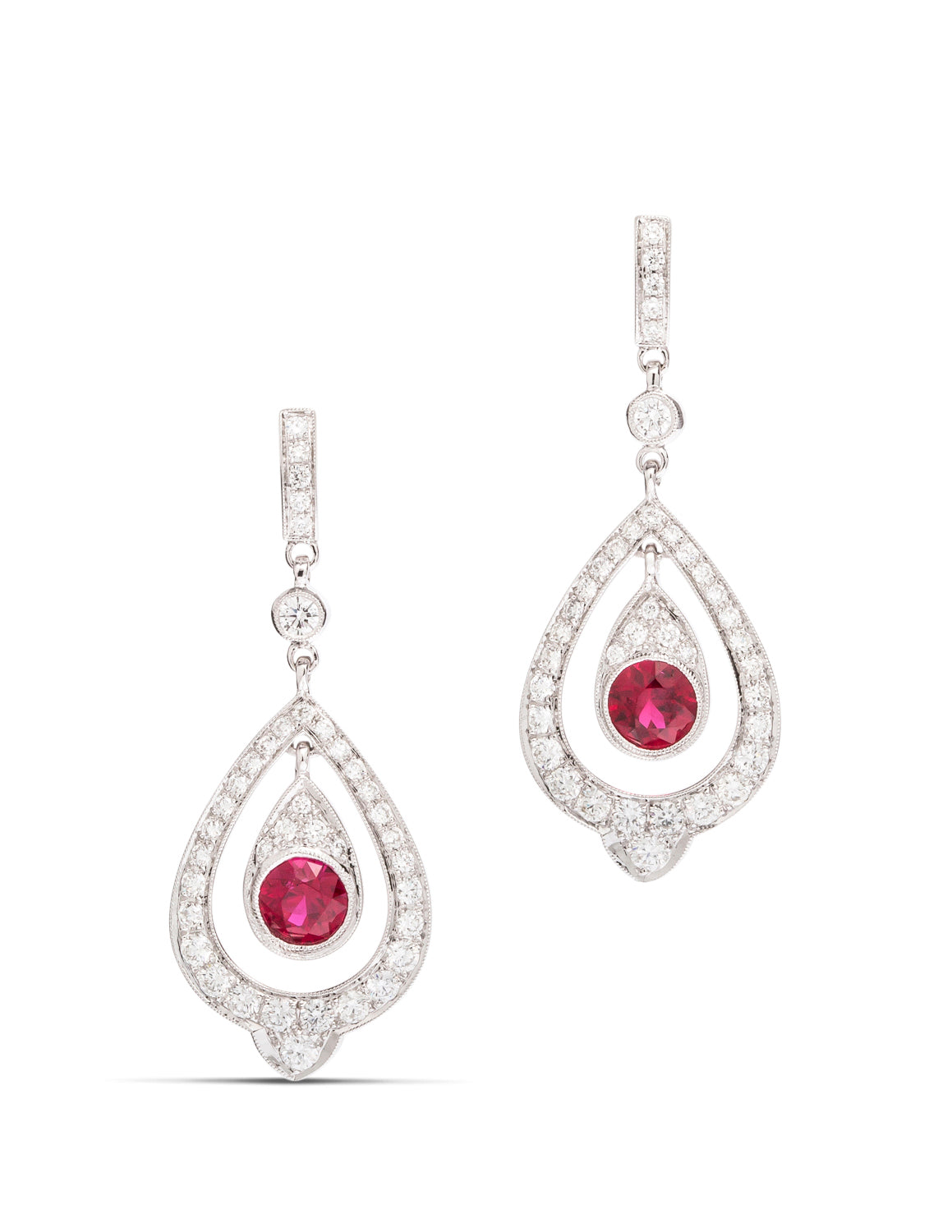 Diamond and Ruby Dangle Earrings - Charles Koll Jewellers