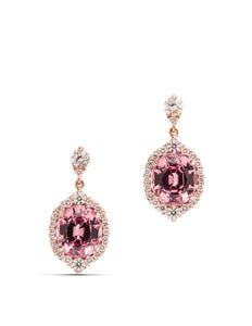 Lotus Garnet and Diamond Earrings