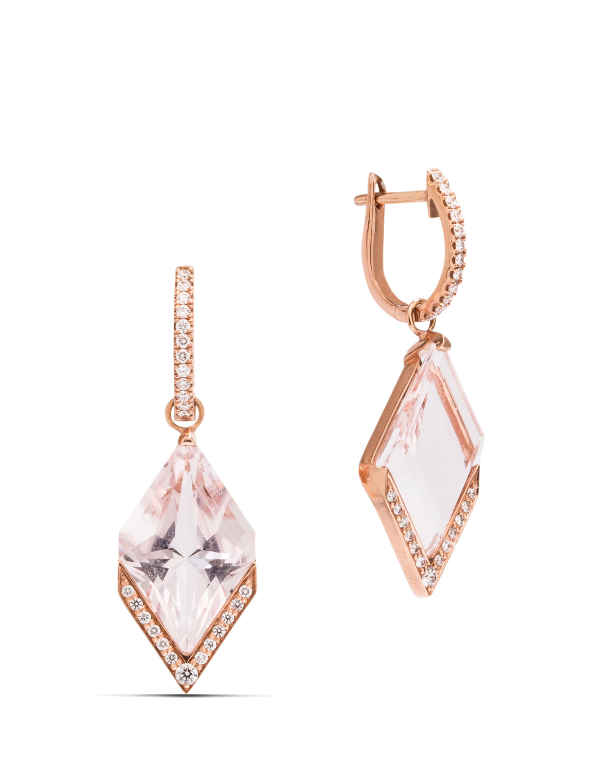 Morganite and Diamond Dangle Earrings - Charles Koll Jewellers