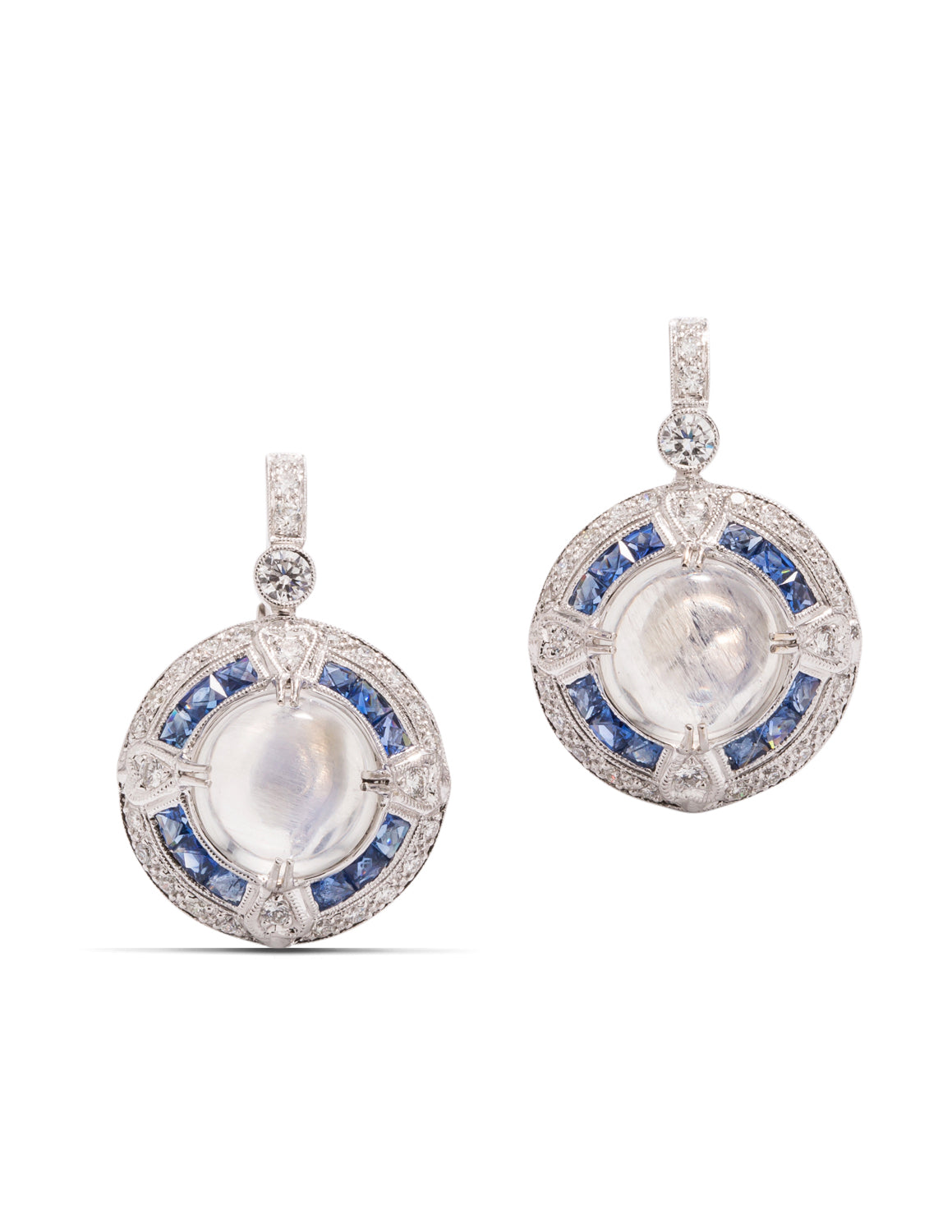 Moonstone, Sapphire and Diamond Earrings - Charles Koll Jewellers