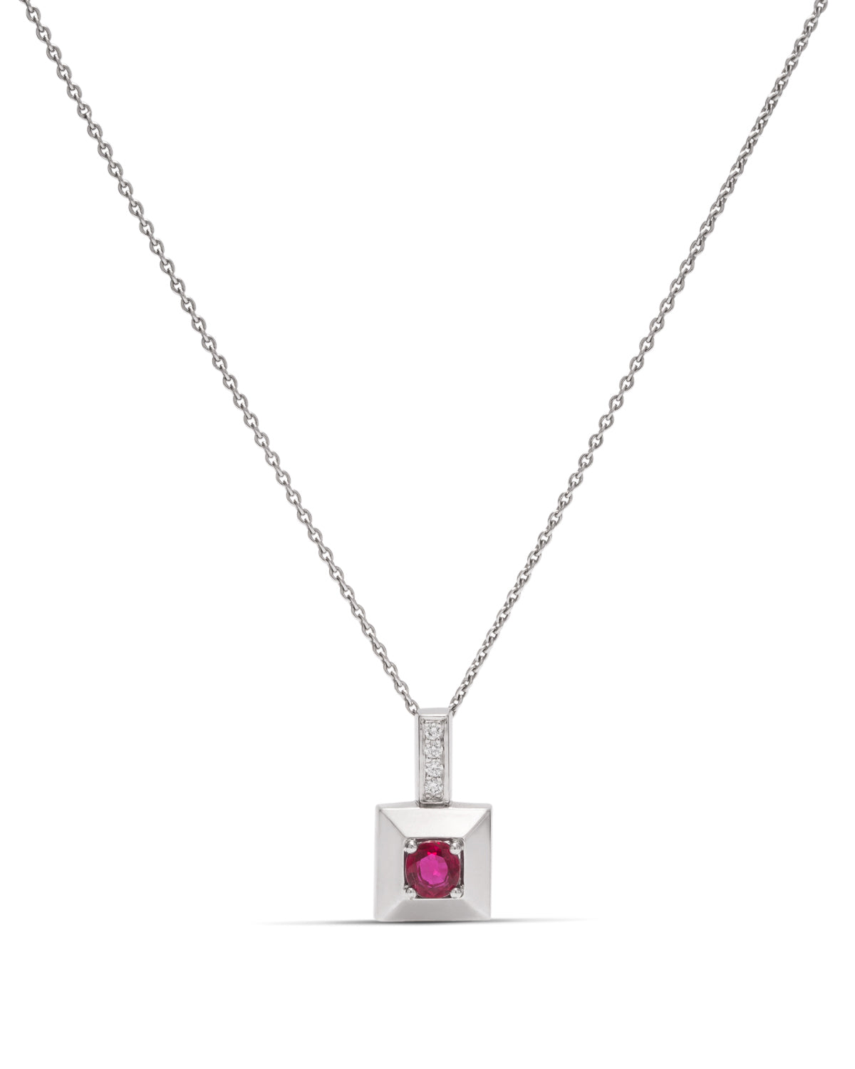 Ruby & Diamonds 18k White Gold Square Pendant - Charles Koll Jewellers