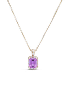 Pink/Purple Sapphire Yellow Gold Pendant - Charles Koll Jewellers