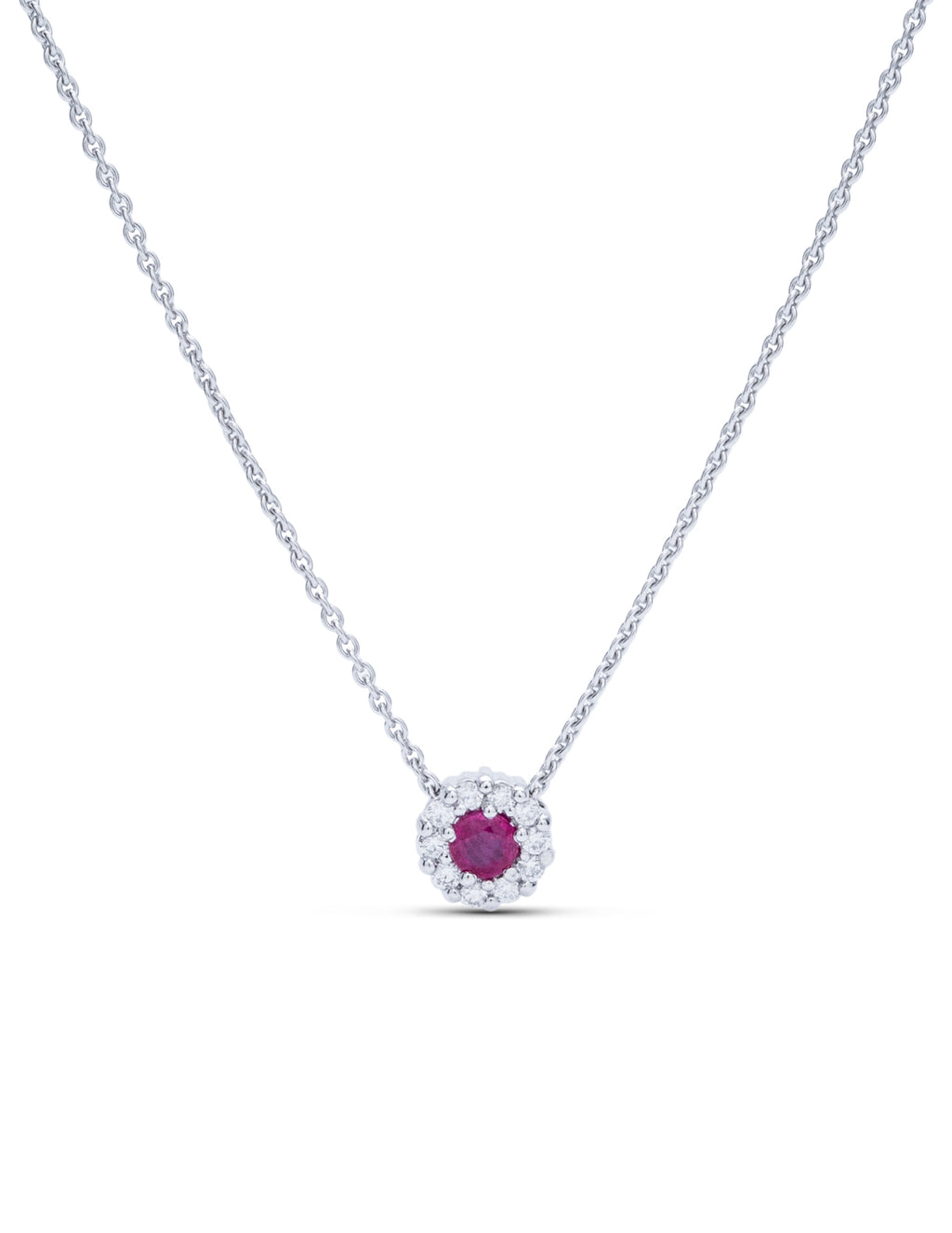 Diamond Halo Ruby Pendant - Charles Koll Jewellers