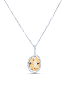 Citrine and Diamond Pendant - Charles Koll Jewellers