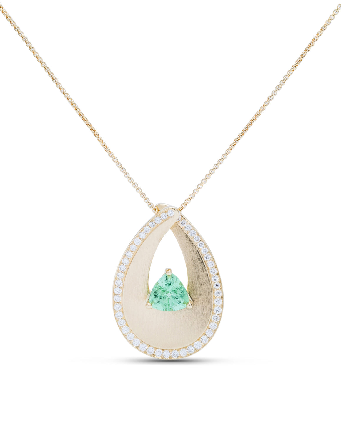 Yellow Gold Loop Pendant With Paraiba Center Stone - Charles Koll Jewellers