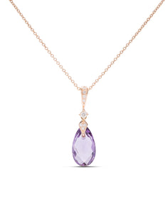 Amethyst and Diamond Rose Gold Pendant - Charles Koll Jewellers