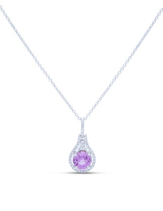 Pink Sapphire and Diamond Drop Pendant - Charles Koll Jewellers
