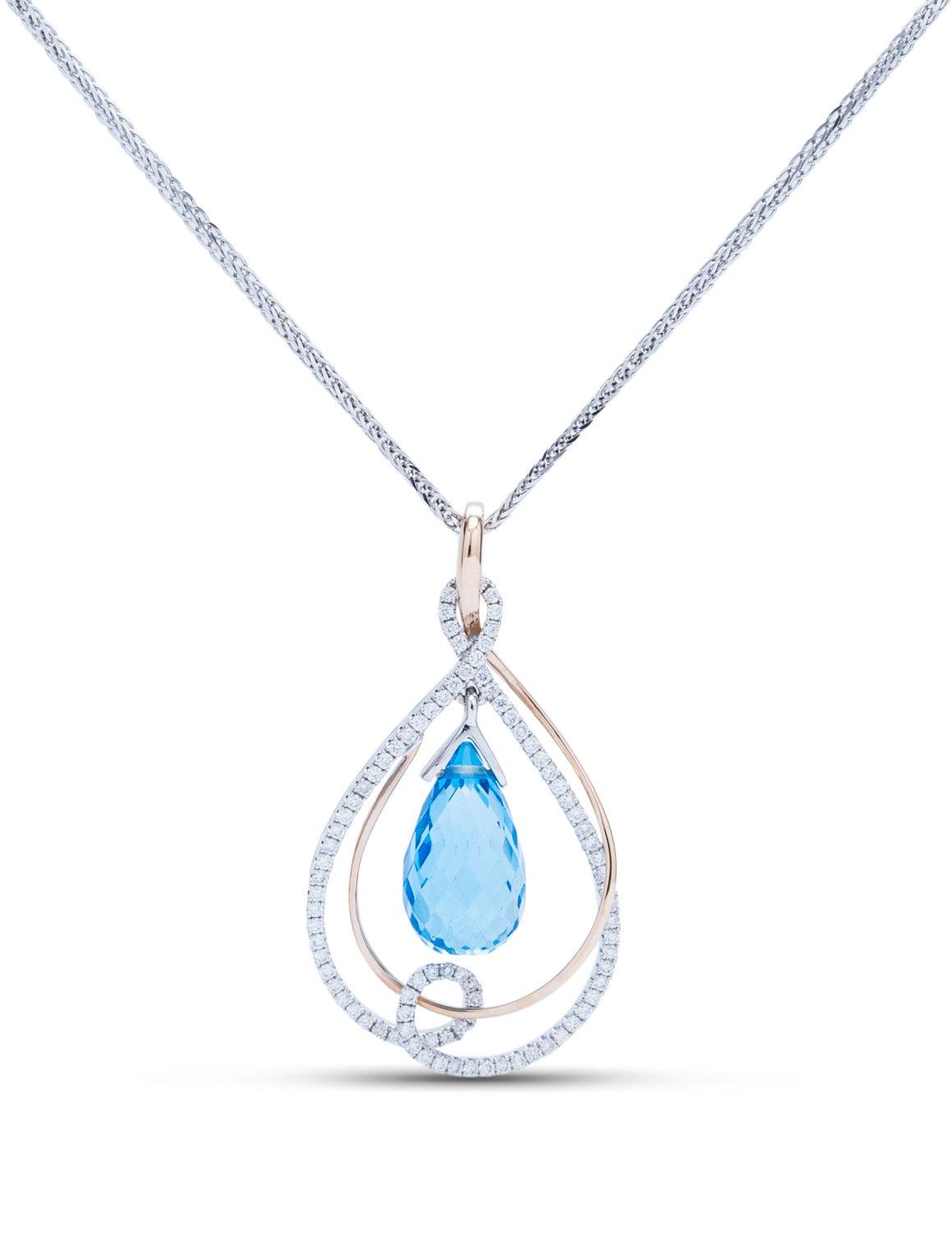 Blue Topaz Briolette With Diamonds Pendant - Charles Koll Jewellers