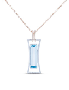 Blue Topaz and Diamond Two-Tone Pendant - Charles Koll Jewellers