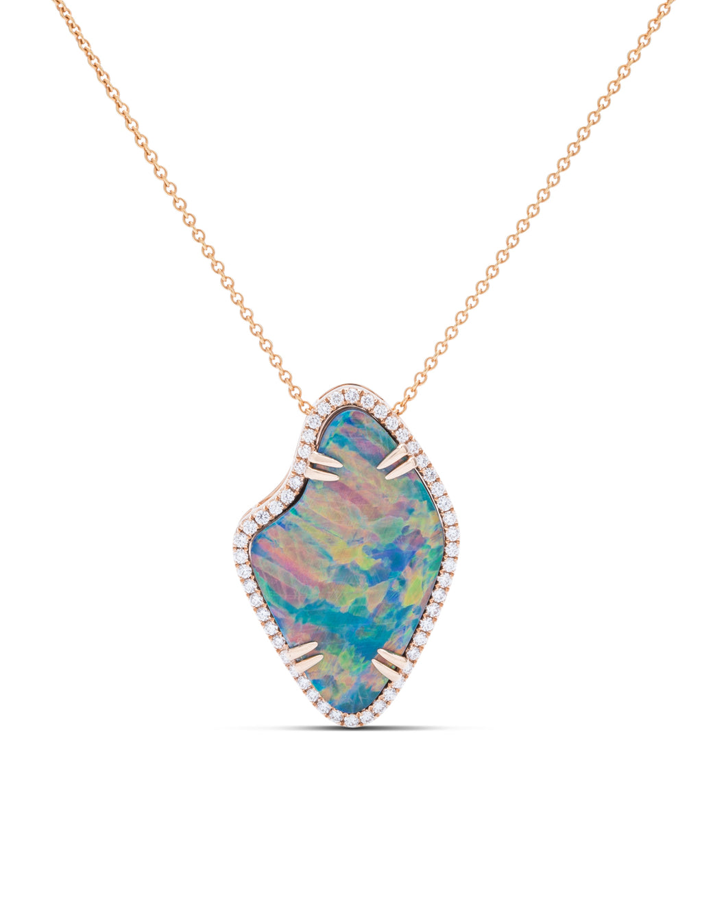 Opal and Diamond Rose Gold Pendant - Charles Koll Jewellers