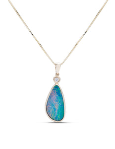 Opal and Diamond Drop Pendant - Charles Koll Jewellers